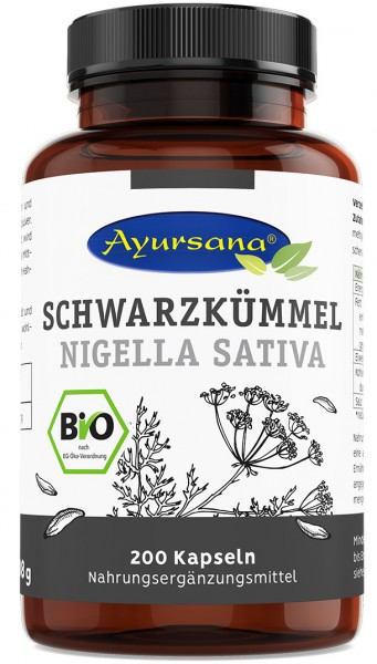 Ayursana - Schwarzkümmel Kapseln (200 Stück) vegan - BIO - MHD Ware