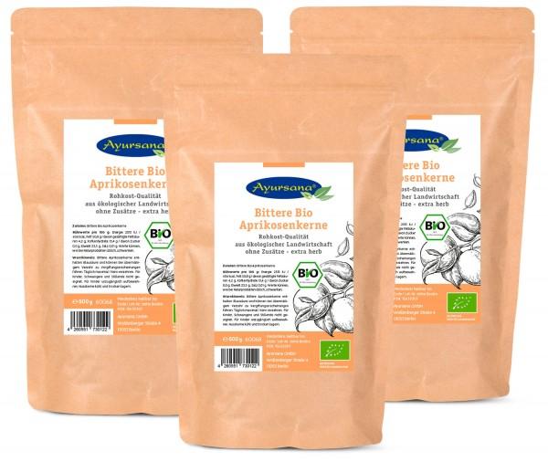 Ayursana - Bittere Aprikosenkerne (3x 500 g) - BIO