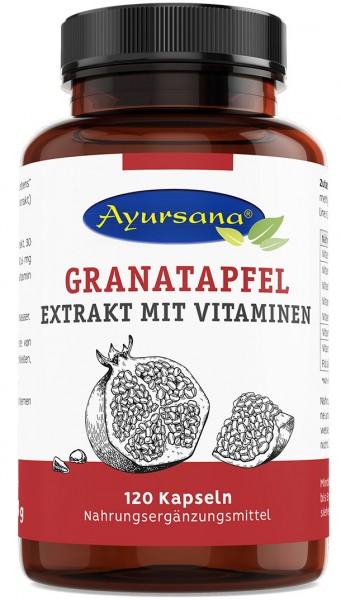 Ayursana – Granatapfel-Extrakt-Kapseln (120 Stück) mit Vitamin-B-Komplex