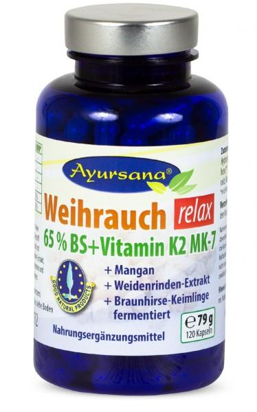 Ayursana - Weihrauchkapseln relax mit Vitamin K2, Mangan und Braunhirse (120 Stück)