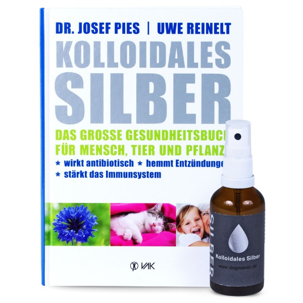 "Mix Set - Kolloidales Silber Spray (50ml) + Buch ""Kolloidales Silber"""