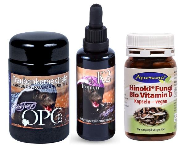 Robert Franz - OPC (60 Kaps) + Vitamin K2 (50 ml) + Ayursana Vitamin D (120 Kaps)