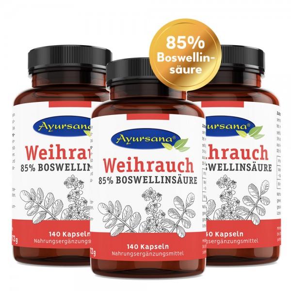 Ayursana - Weihrauch Kapseln mit 85% Boswelliasäure Sparset (3x 140 Kapseln)