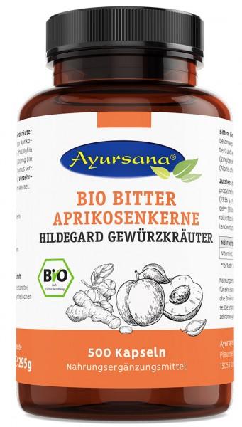Ayursana - Bittere Aprikosenkernkapseln mit Hildegard-Gewürzkräutern (500 Stück) - BIO