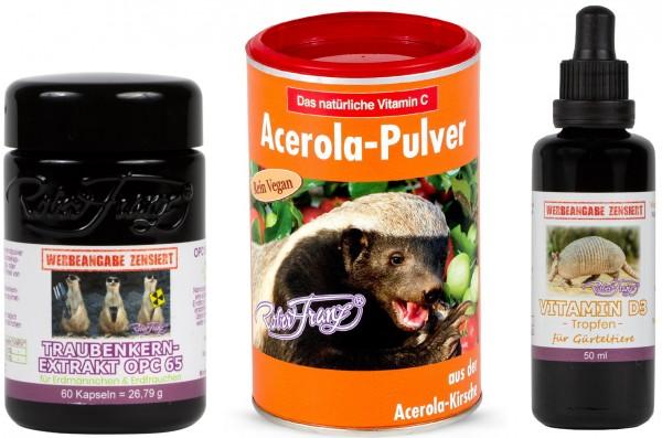 Robert Franz - Set OPC-Kapseln + Vitamin D3 Tropfen + Acerola-Pulver